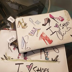 """2 Christian Siriano """"I love Shoes"""" clutches."""